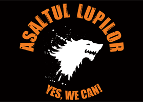 Steag oficial Asaltul Lupilor Yes, We CAN! (negru)